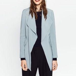 Zara Basic Pale Blue Long Open Blazer XS